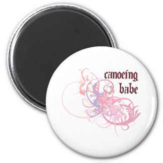 Canoeing Babe 2 Inch Round Magnet