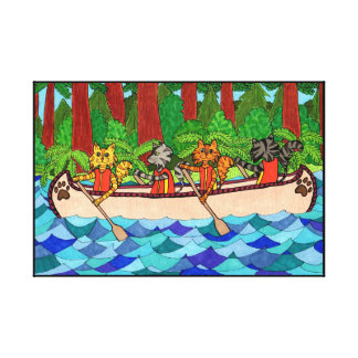 Canoeing Cats Canvas Print