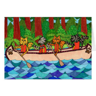 Canoeing Cats Greeting Card