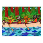 Canoeing Cats Post Cards