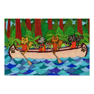 Canoeing Cats Poster