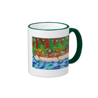 Canoeing Cats Ringer Mug
