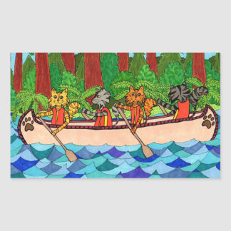 Canoeing Cats Stickers