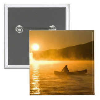 Canoeing in Lily Bay at sunrise, Moosehead Lake, 2 Inch Square Button