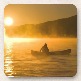 Canoeing in Lily Bay at sunrise, Moosehead Lake, Beverage Coasters