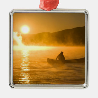 Canoeing in Lily Bay at sunrise, Moosehead Lake, Metal Ornament