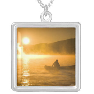 Canoeing in Lily Bay at sunrise, Moosehead Lake, Square Pendant Necklace