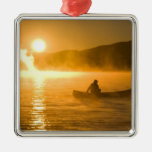 Canoeing in Lily Bay at sunrise, Moosehead Lake, Christmas Tree Ornaments