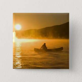 Canoeing in Lily Bay at sunrise, Moosehead Lake, Pinback Button