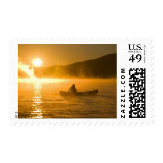 Canoeing in Lily Bay at sunrise, Moosehead Lake, Postage
