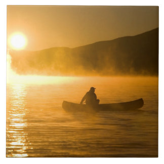 Canoeing in Lily Bay at sunrise, Moosehead Lake, Tile