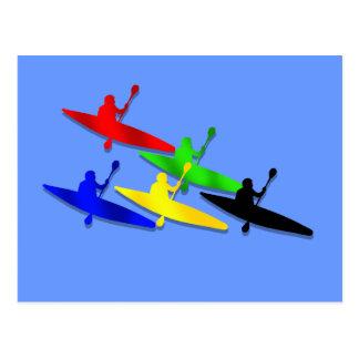 Canoeing Kyaking Canoe kyak water sports Postcard