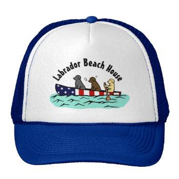 Beach Themed Canoeing Labrador Beach House Hat