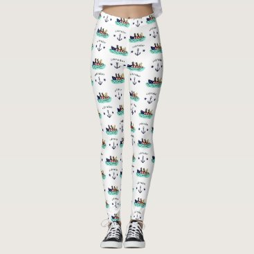 Beach Themed Canoeing Labrador Beach House Leggings