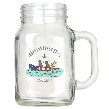 Beach Themed Canoeing Labrador Beach House Mason Jar Mug