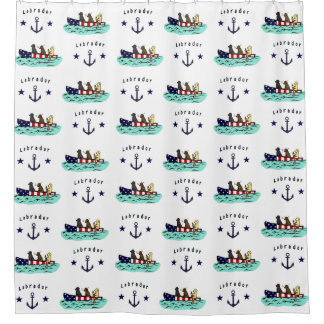 Canoeing Labrador Beach House Shower Curtain