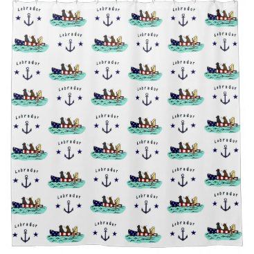 Beach Themed Canoeing Labrador Beach House Shower Curtain