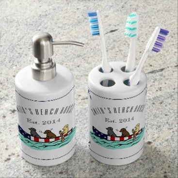 Beach Themed Canoeing Labrador Beach House Soap Dispenser set