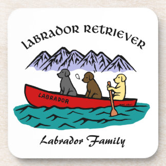 Canoeing Labrador Retrievers Beverage Coaster