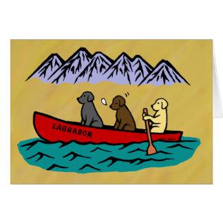 Canoeing Labrador Retrievers Card