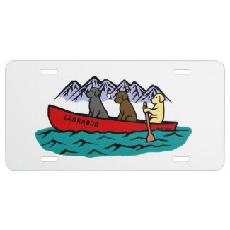 Canoeing Labrador Retrievers in the Mountain License Plate