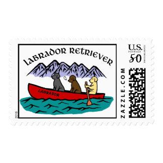 Canoeing Labrador Retrievers Postage