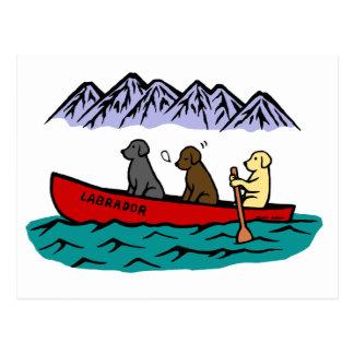 Canoeing Labrador Retrievers Postcard
