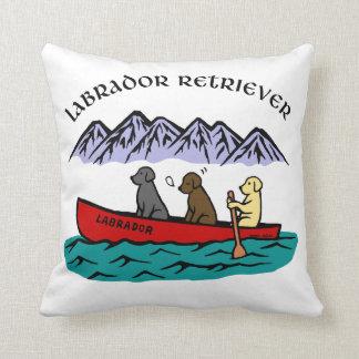 Canoeing Labrador Retrievers Throw Pillow