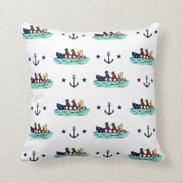 Beach Themed Canoeing Labrador Retrievers US Flag Pillow