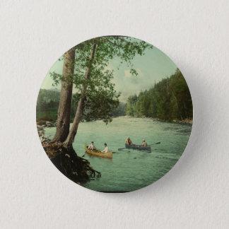 Canoeing on an Adirondack Mountain Stream Pinback Button