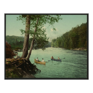Canoeing on an Adirondack Mountain Stream Poster