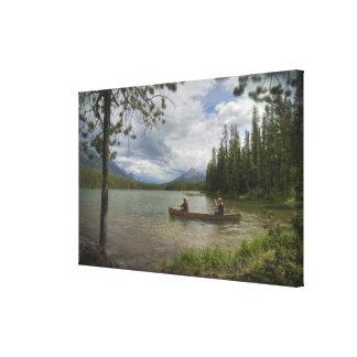 Canoeing on Honeymoon Lake Canvas Print