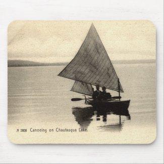 Canoeing on Lake Chatauqua New York 1905 Vintage mousepad
