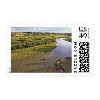 Canoeing on the Milk River at Writing On Stone Stamp