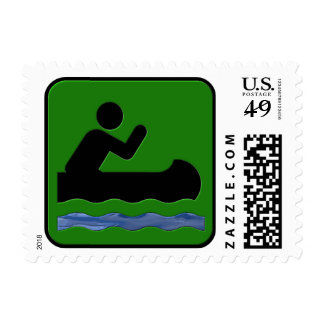 Canoeing Postage Stamp