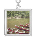Canoeing the Macal River, Belize Square Pendant Necklace