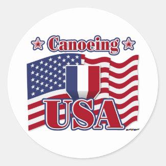 Canoeing USA Classic Round Sticker