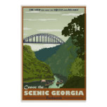Canoeing Vintage Travel poster