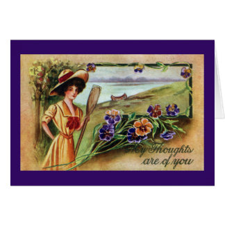 Canoeing Woman and Pansies Card