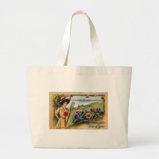Canoeing Woman and Pansies Large Tote Bag