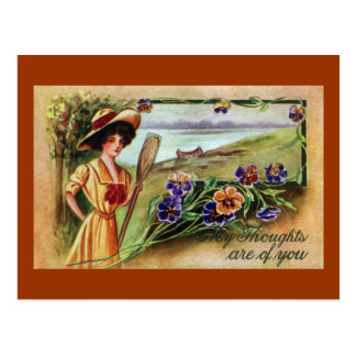 Canoeing Woman and Pansies Post Cards