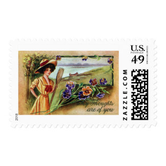 Canoeing Woman and Pansies Postage Stamp