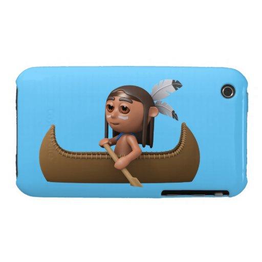 Canoeist valiente indio 3d iPhone 3 Case-Mate cobertura