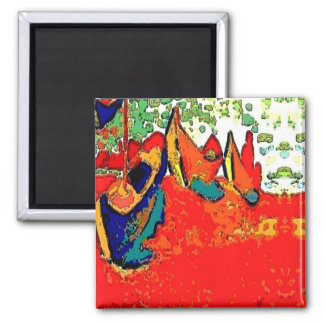 Canoes and Boats 2 Inch Square Magnet