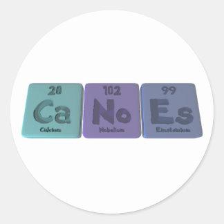 Canoes-Ca-No-Es-Calcium-Nobelium-Einsteinium.png Classic Round Sticker
