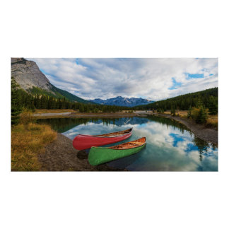 Canoes in Banff National Park Poster