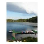 canoes on a lake custom letterhead