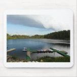 canoes on a lake mousepads