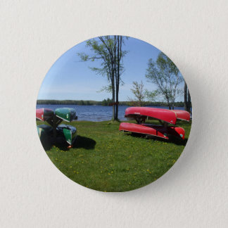 Canoes On Beach Pinback Button