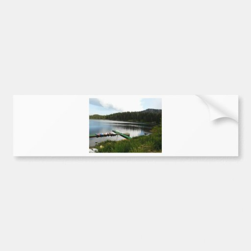 canoes on lake 2 bumper stickers